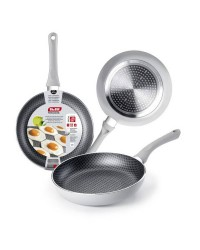 Caja de 6 uds de Sarten Aluminio Silver Net 18 Cm, Valida Para Todas Las Cocinas Ibili 435018