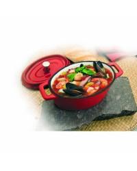 Mini Cocotte Hierro Fundido Oval Roja 15X10X6 Cm, Especial Induccion Ibili 726015R