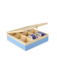 Caja de 6 uds de Caja De Te 9 Compartimentos Azul, Madera Ibili 748550