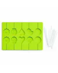 Caja de 6 uds de Molde Piruletas + 24 Palitos Silicona Ibili 754900