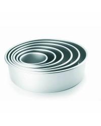Caja de 6 uds de Molde Redondo Recto Extra Alto Aluminio Anodizado 10X10 Cm Ibili 815110