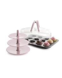 Molde Muffin 12 Cavidades Con Tapa Y Soporte Chapa De Acero Con Antiadherente Ibili 828000