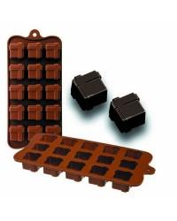 Caja de 6 uds de Molde Bombon Silicona Chocolate Gift,  11X21X2,5 Cm Ibili 860308