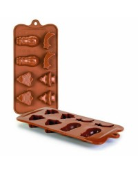 Caja de 6 uds de Molde Bombon Silicona Chocolate Navidad,  11X21X2,5 Cm Ibili 860312