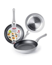 Caja de 6 uds de Sarten Aluminio Silver Net 24 Cm, Valida Para Todas Las Cocinas Ibili 435024