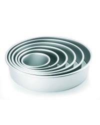 Caja de 6 uds de Molde Redondo Recto Alto Aluminio Anodizado 25X7,60 Cm Ibili 815025