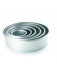 Caja de 6 uds de Molde Redondo Recto Extra Alto Aluminio Anodizado 30X10 Cm Ibili 815130