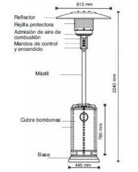 Estufa Calefactora CORONA Negra con ruedas para Terrazas